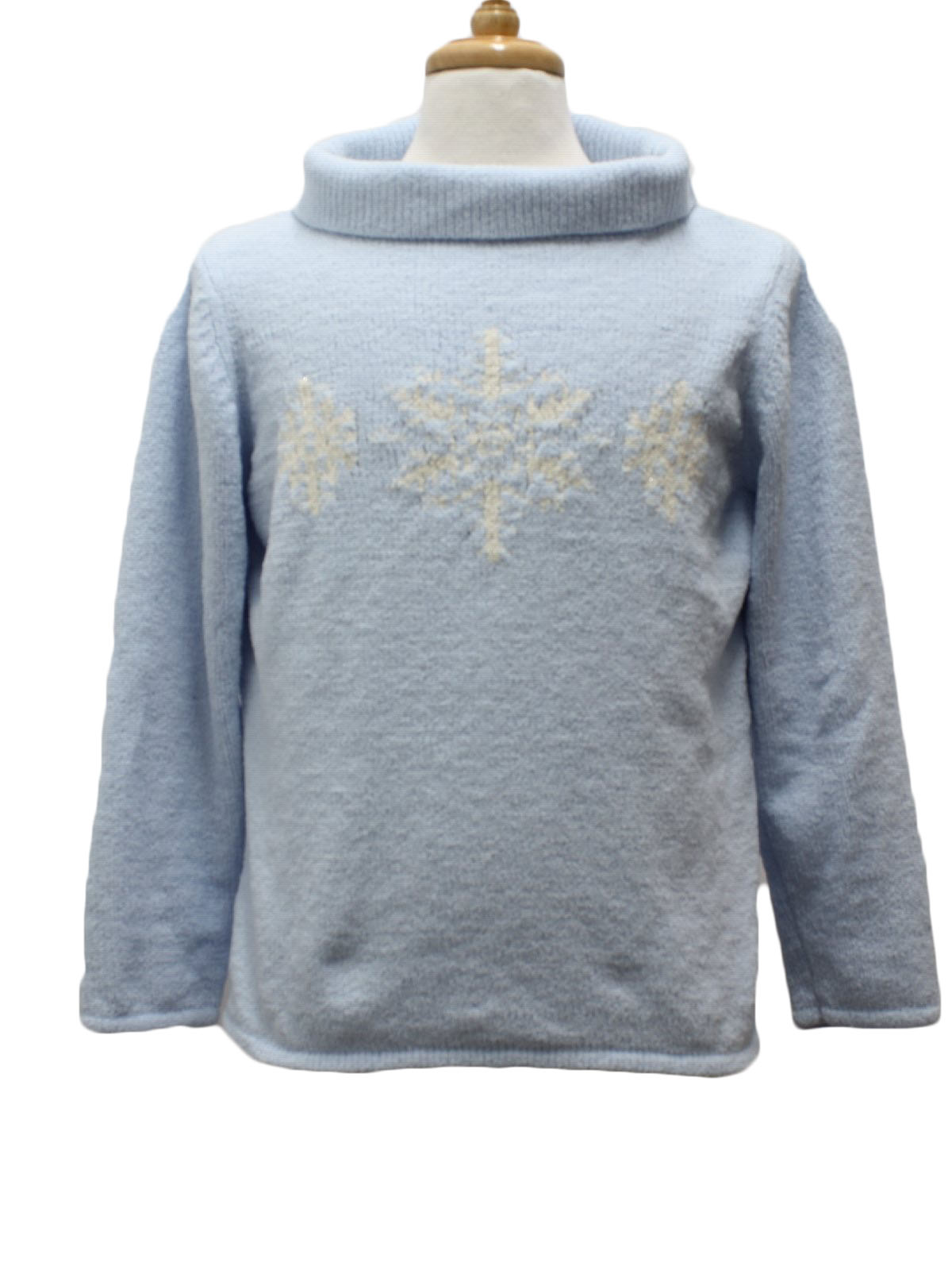 Womens Ugly Christmas Sweater Basic Editions Womens Light Blue