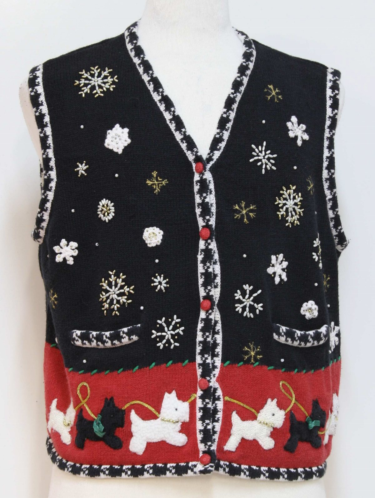 Ugly Christmas Sweater Vest Studio Joy Unisex Black
