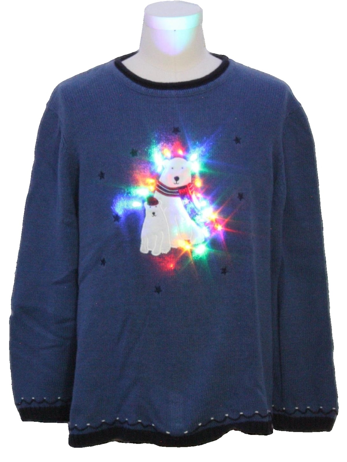 light up super bright multicolor solid lit lights ugly christmas sweater charter club unisex royal blue red green and white background cotton ramie