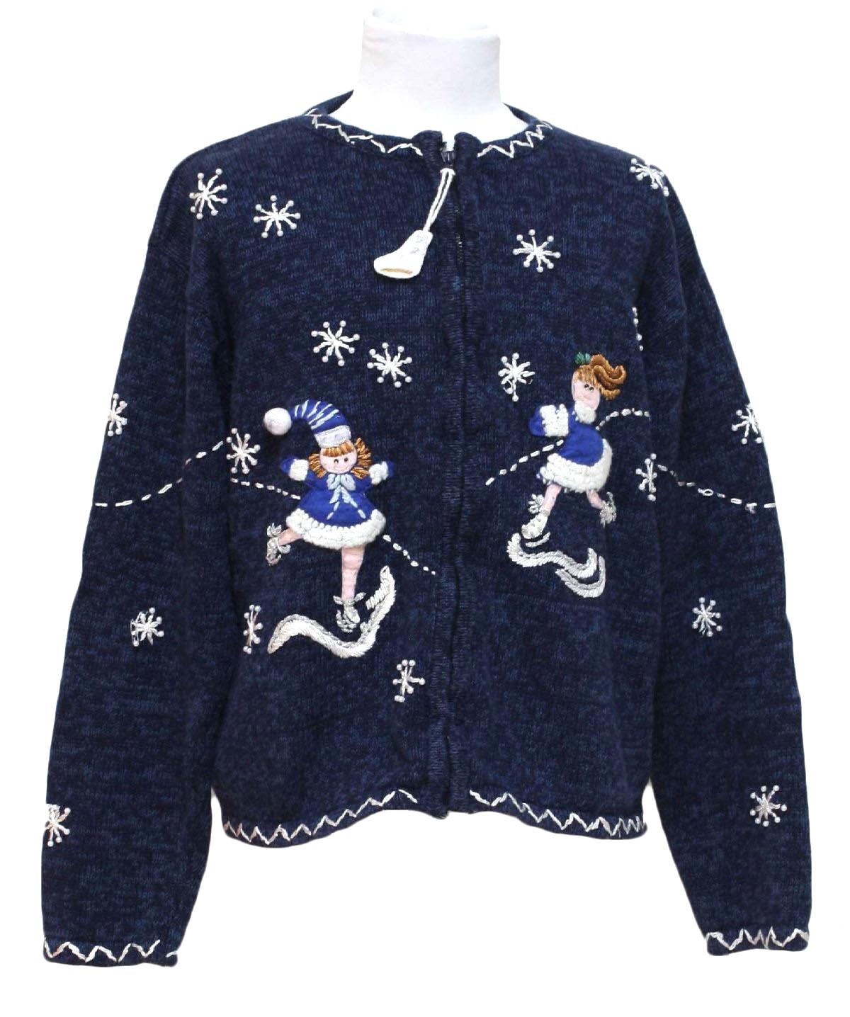 womensgirls ugly christmas sweater tiara girls girls dark navy blue background cotton ramie blend zip front longsleeve ugly christmas sweater - Christmas Jacket