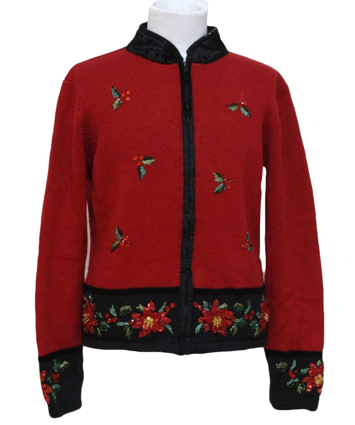 womensgirls ugly christmas sweater carly st claire girls red background cotton ramie blend zip front longsleeve ugly christmas sweater mock turtleneck - Red Ugly Christmas Sweater