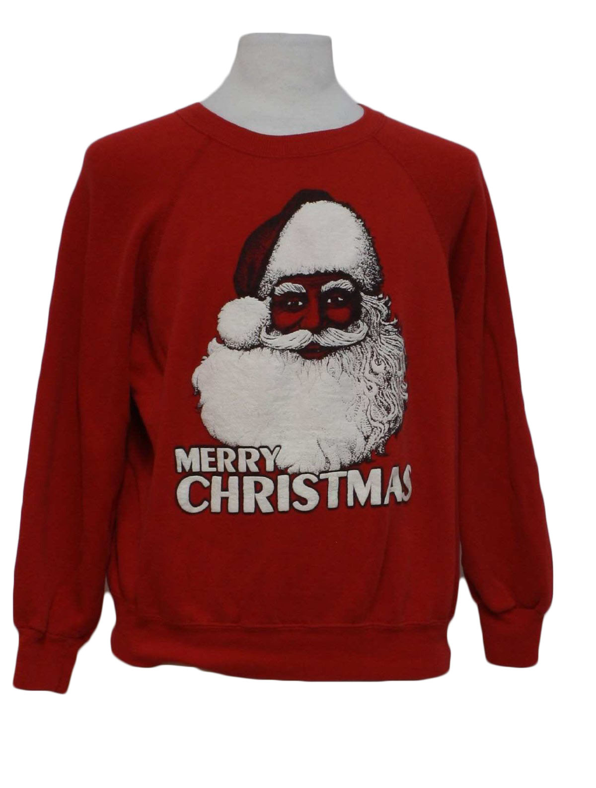 eighties black santa ugly christmas sweater sweatshirt 80s authentic vintage no label unisex red background ramie cotton blend long sleeve pullover ugly
