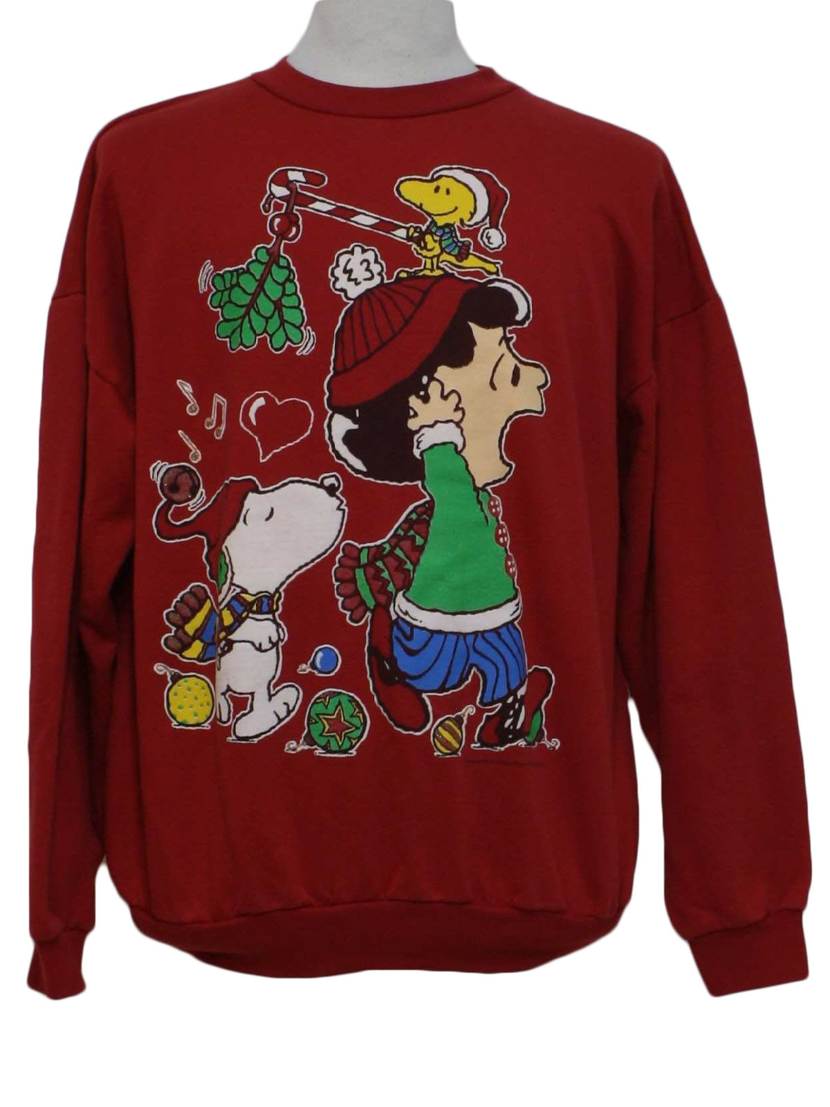 80s vintage ugly christmas sweatshirt 80s authentic vintage peanuts unisex red background ramie cotton blend long sleeve pullover ugly christmas - Peanuts Christmas Shirt