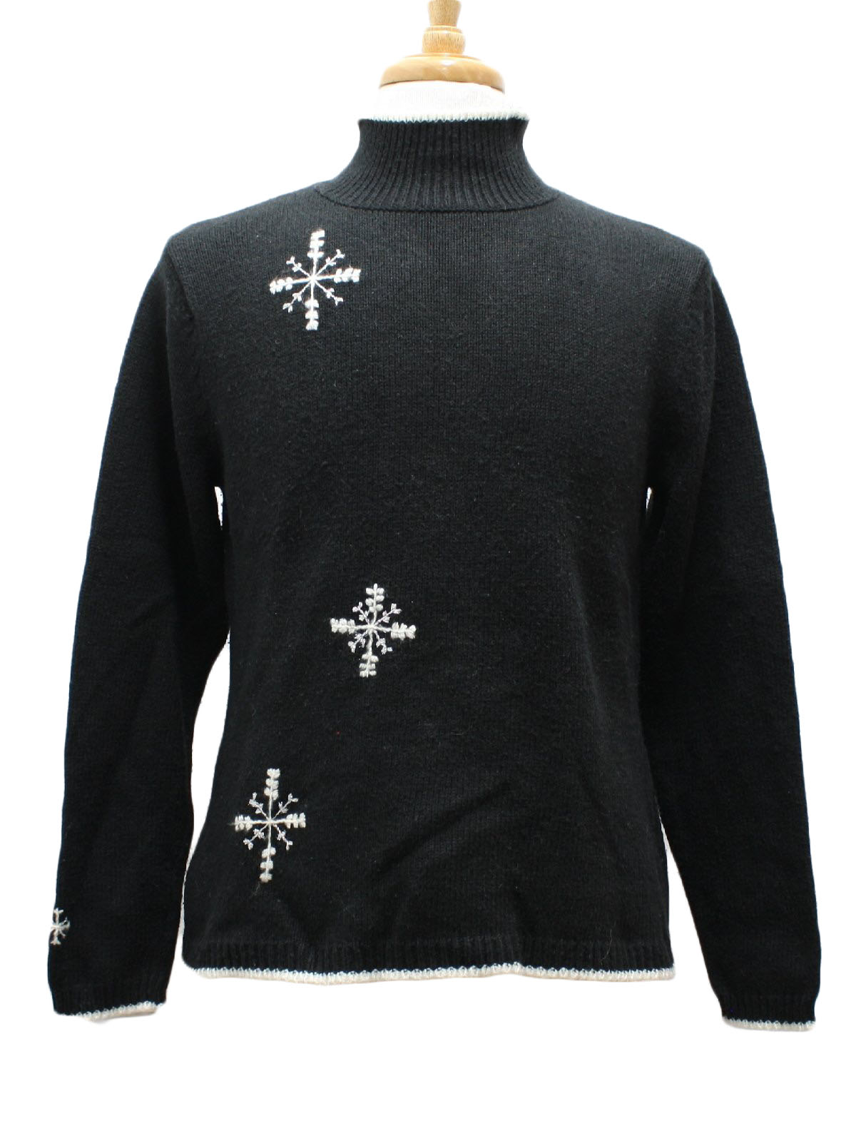 womens ugly christmas sweater dockers womens black and white background acrylic ramie blend pullover longsleeve ugly christmas sweater turtleneck collar - Black Christmas Sweater