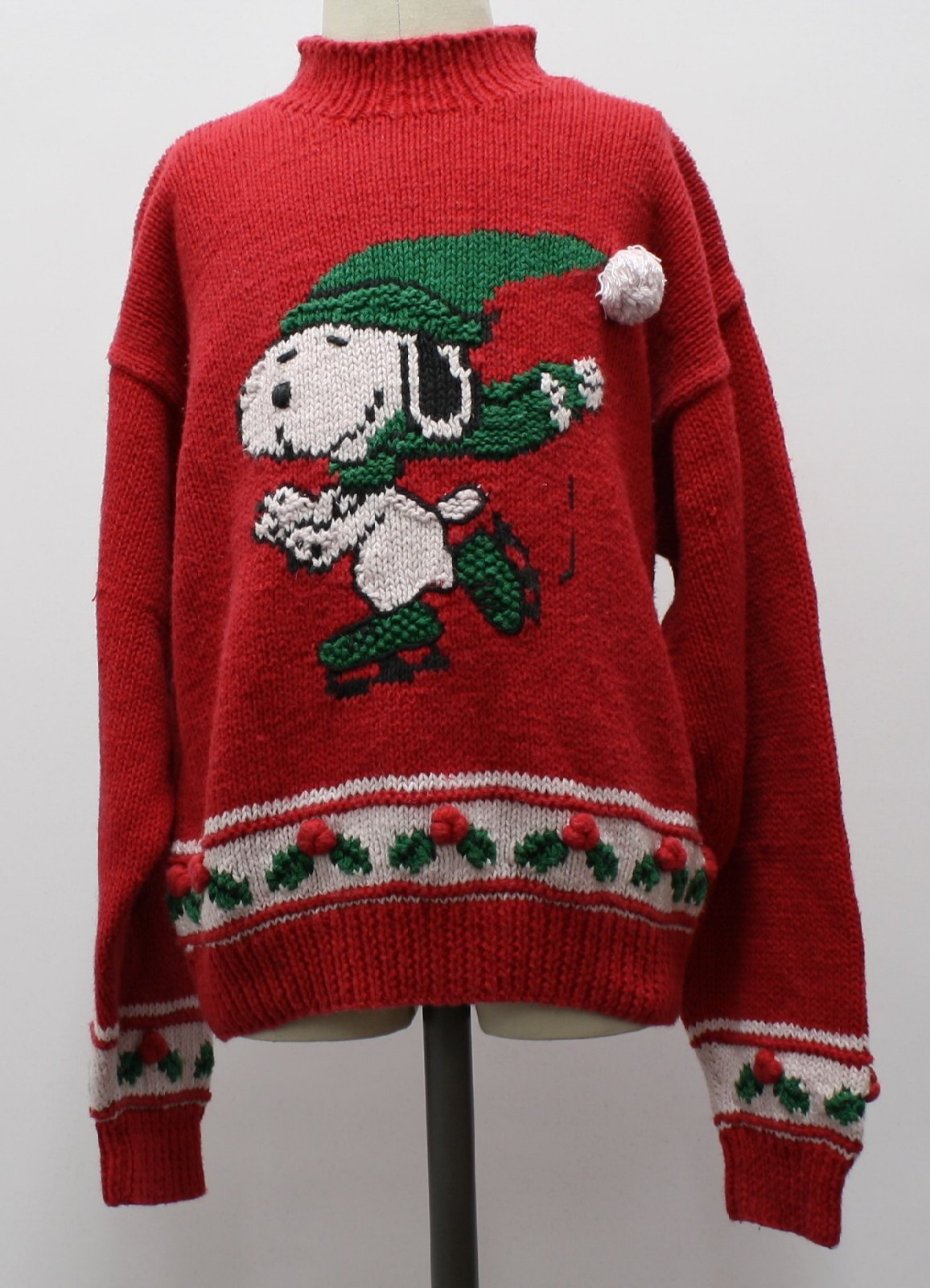 childs ugly christmas snoopy sweater marisa christina unisexchilds red background ramie cotton blend long sleeve pullover ugly christmas sweater