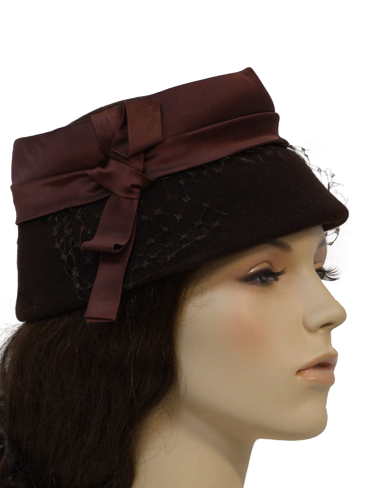 1950 s Retro Hat  50s -Voguemont- Womens felted brown wool hat 300d6bfaeb1
