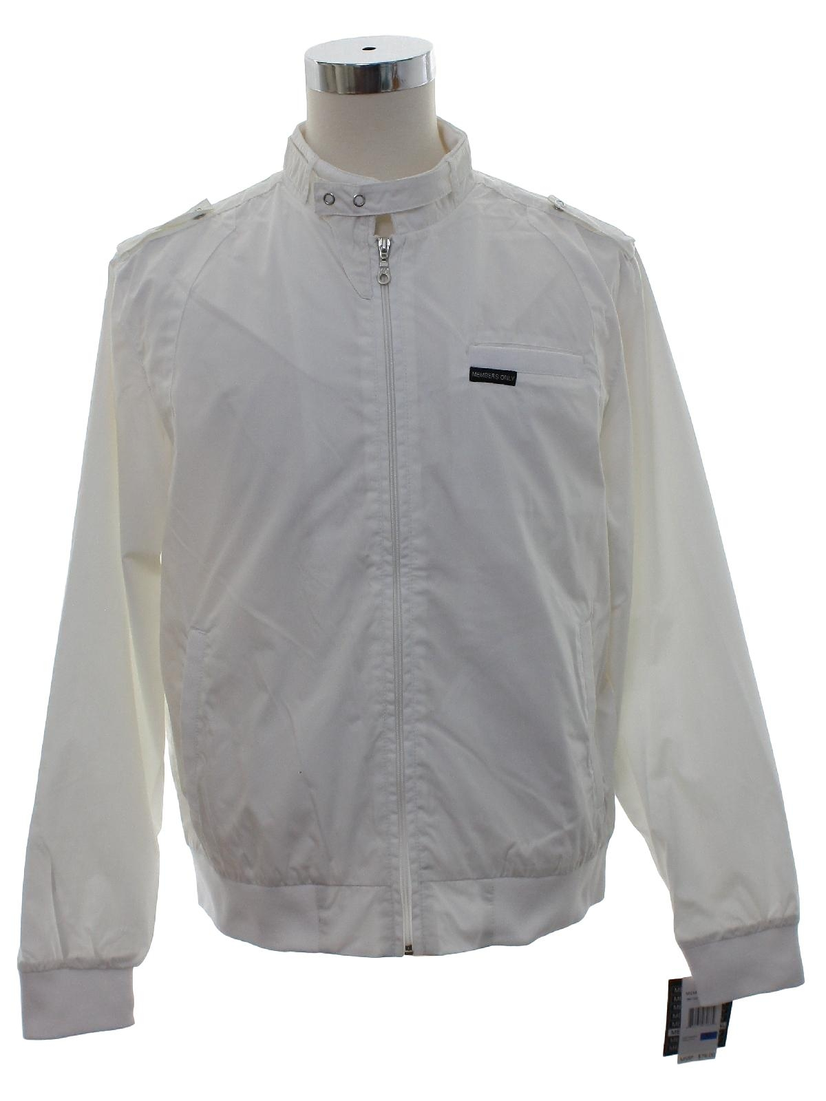 1980 S Retro Jacket 80s Style Members Only Mens White