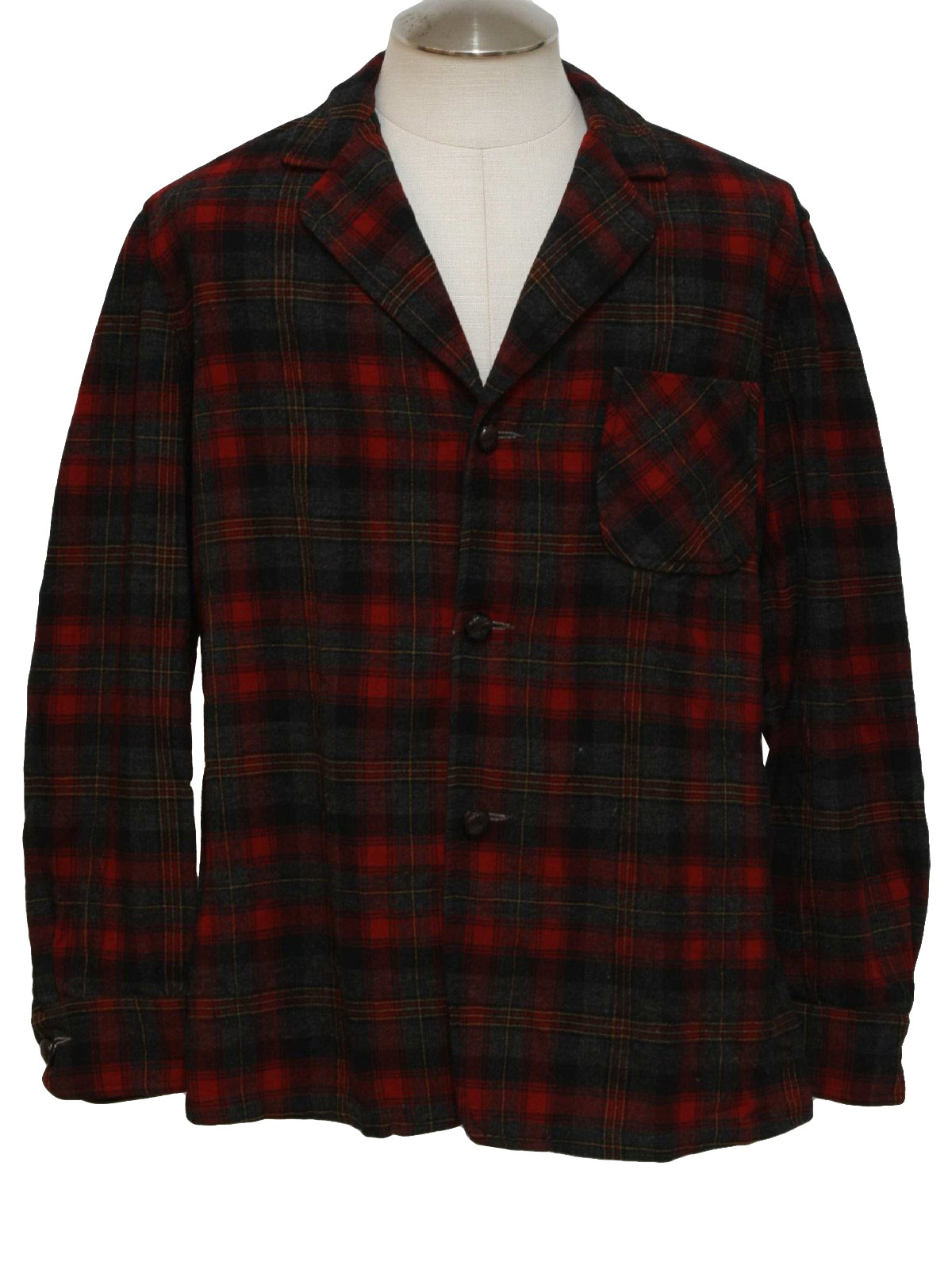Retro 60's Jacket: Late 60s -Pendleton- Mens red, grey, black, off ...