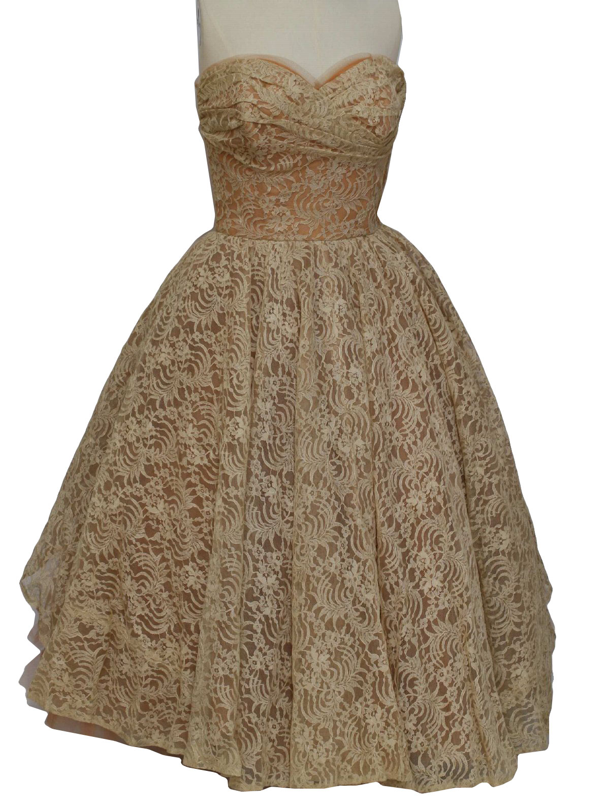 50s -Will Steinman Original- Womens pink and cream floor length super bombshell designer new look 50s cocktail dress. Daring for the time sleeveless cut with modest pinch pleated cross over bodice, side metal zip closure and empire waistline that falls to full skirt. The best part is always walking away and when you do the crinoline lined full skirt back will show all your finer features with lace panel dropped cut away section that will surely inspire a quick chase down.