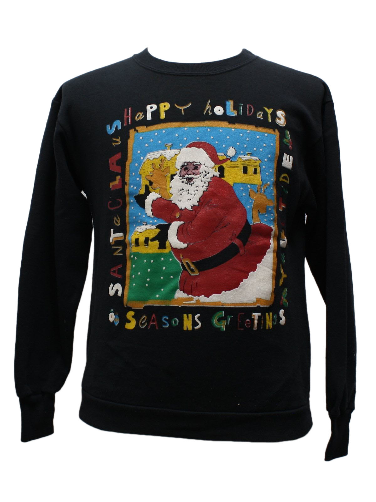 Ugly Christmas Black Santa Sweatshirt: -Delta- Unisex black ...