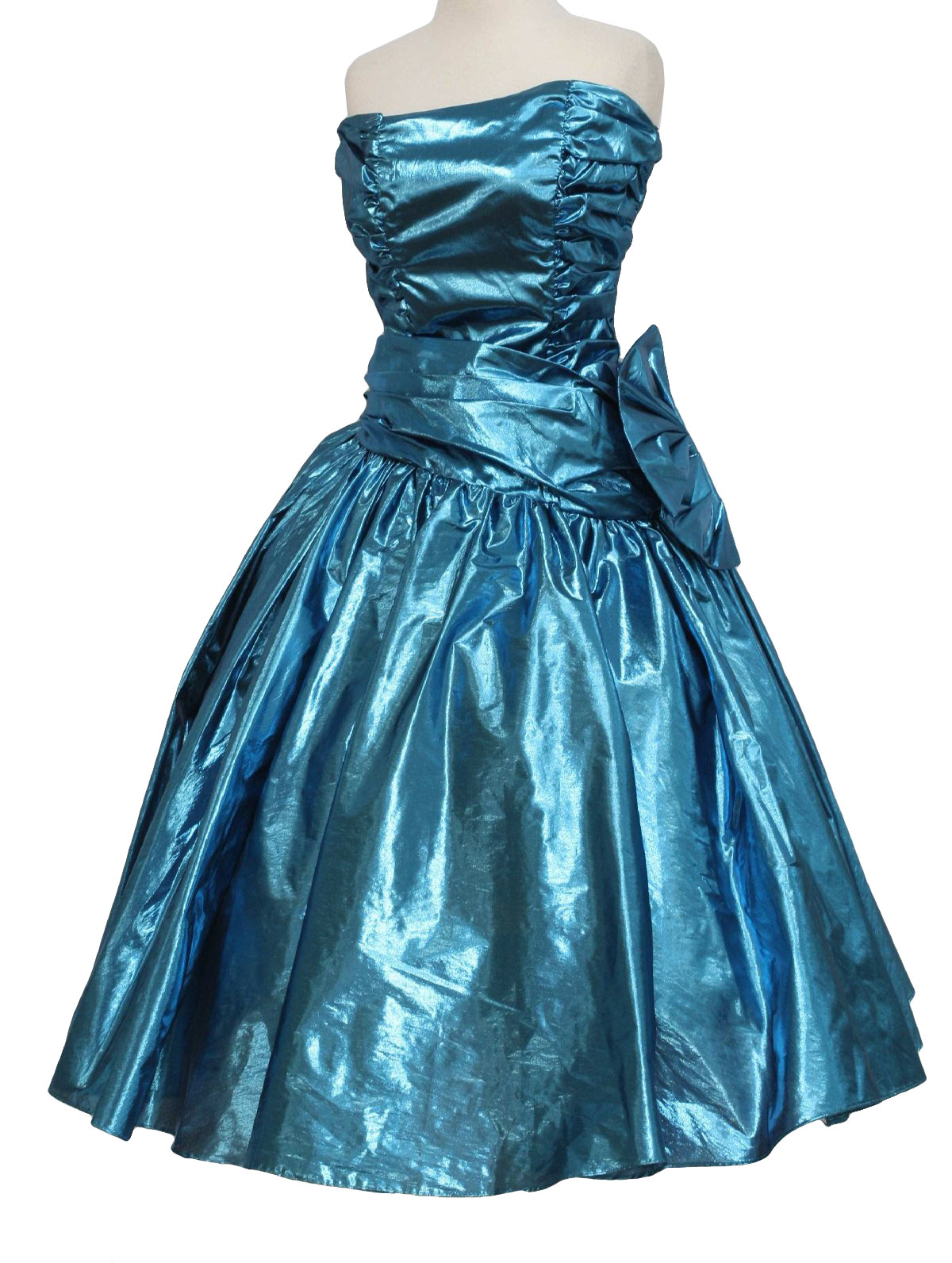 Cocktail Dress: (made in 90s) -ZumZum- Womens shiny teal green ...