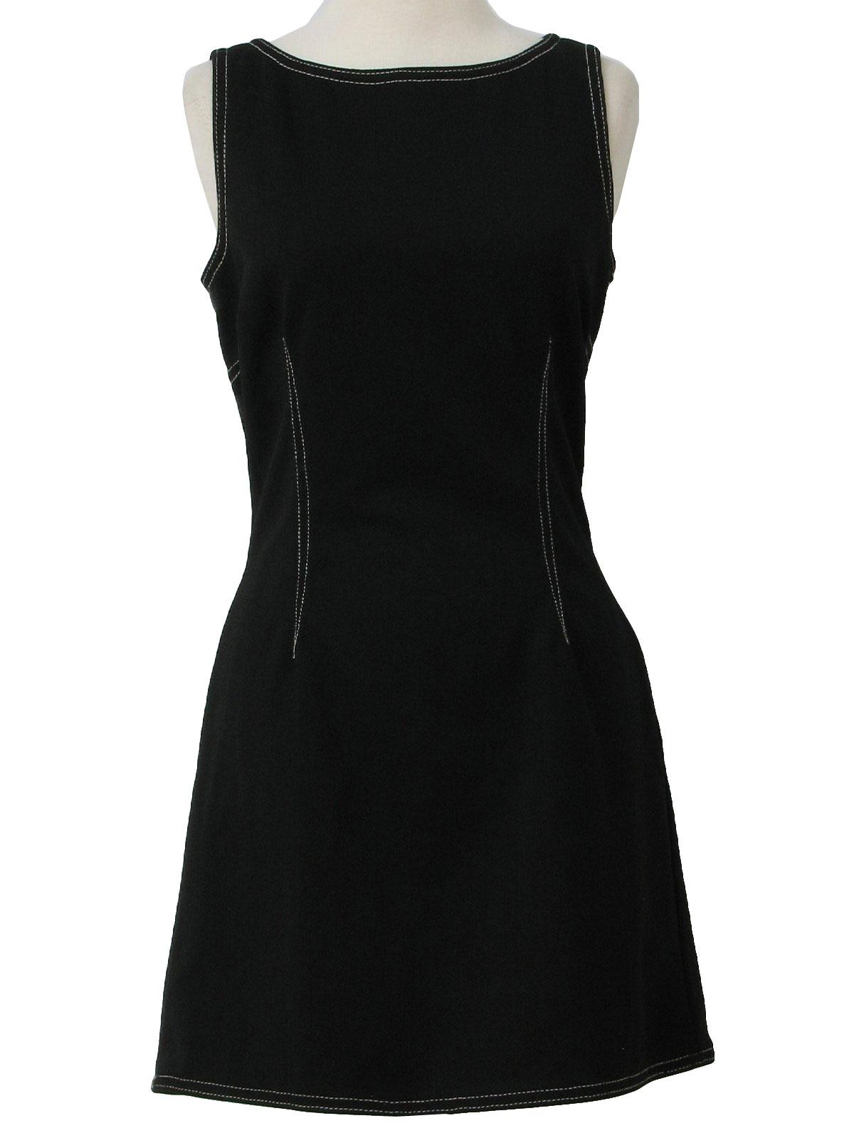 70's Vintage Dress: 70s -A-Z-I-Z- Womens black and white ...