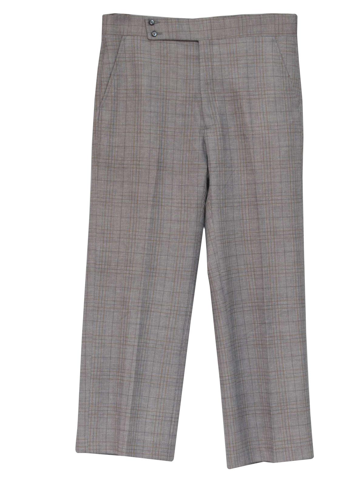 Retro 1970s Pants 70s Haggar Mens Grey Mustard Yellow