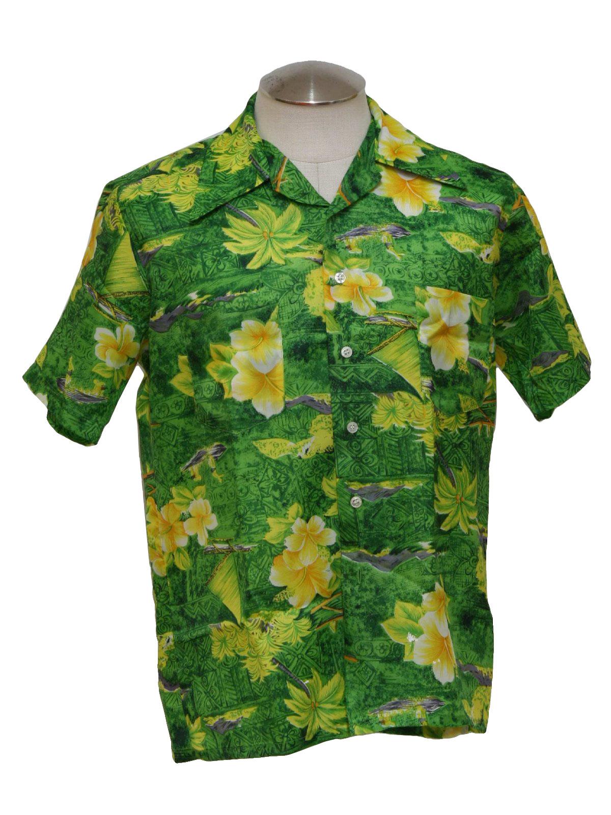 be728d88 Seventies Vintage Hawaiian Shirt: 70s -No Label but likely Waikiki ...