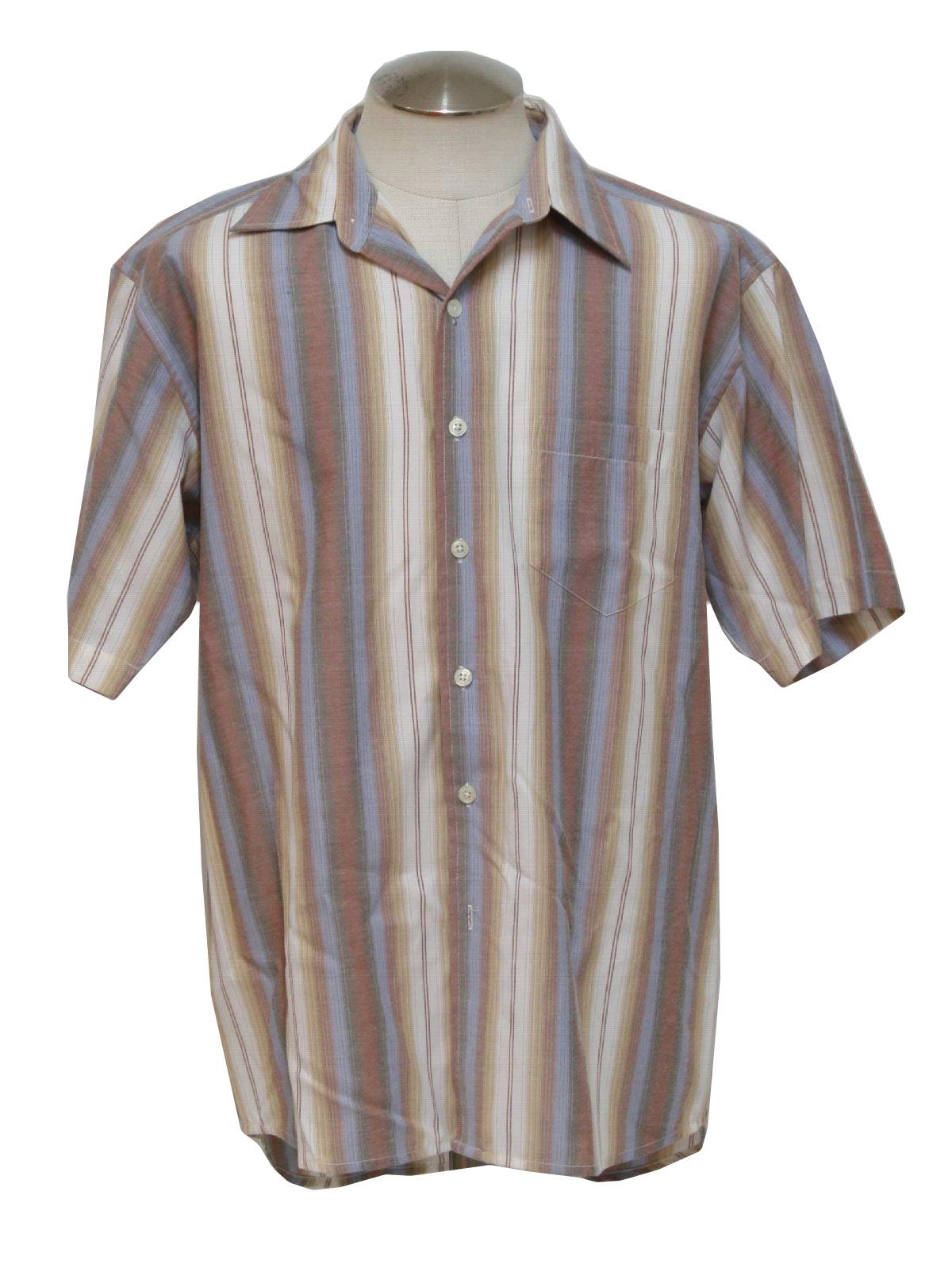 1970s vintage shirt 70s kennington mens white pale for Mens rayon dress shirts