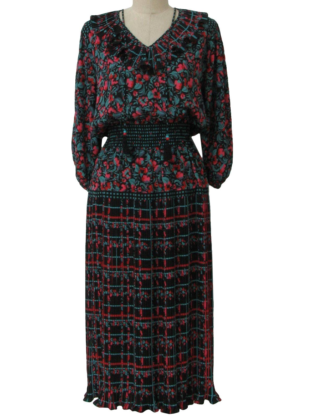 1980s Vintage Dress 80s Diane Freis Designer Womens