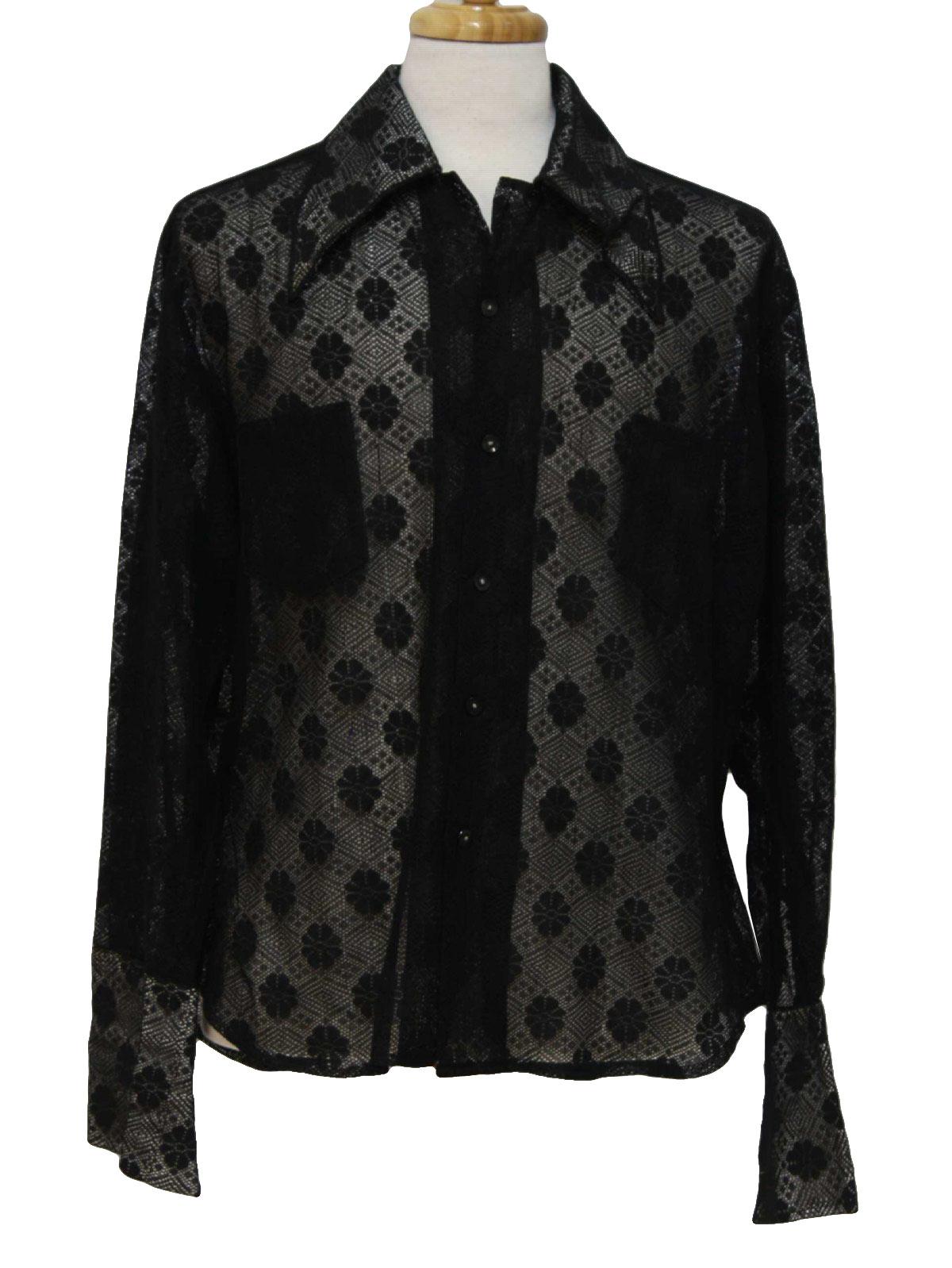 Retro Seventies Disco Shirt 70s Missing Label Mens