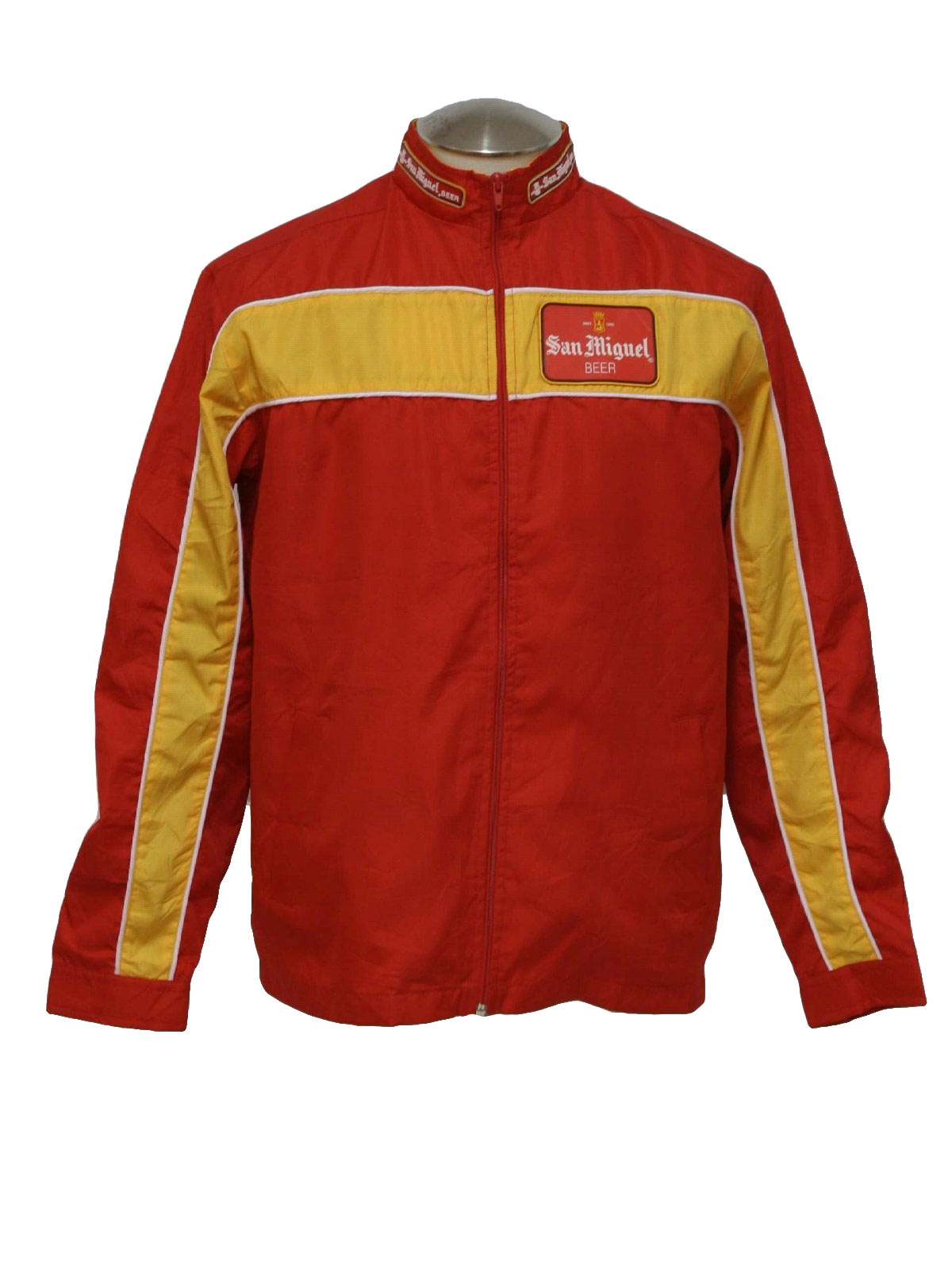 1970s Jacket San Miguel 70s San Miguel Mens Lipstick Red And Yellow Polyester Blend
