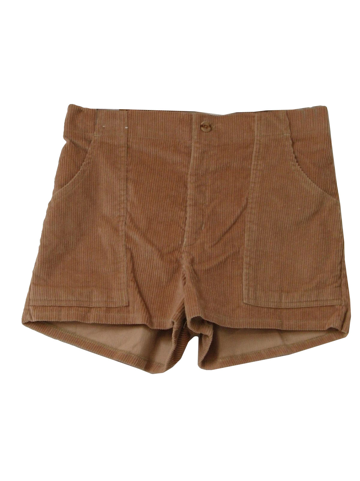 Seventies PGE Shorts: 70s -PGE- Mens creamy tan polyester