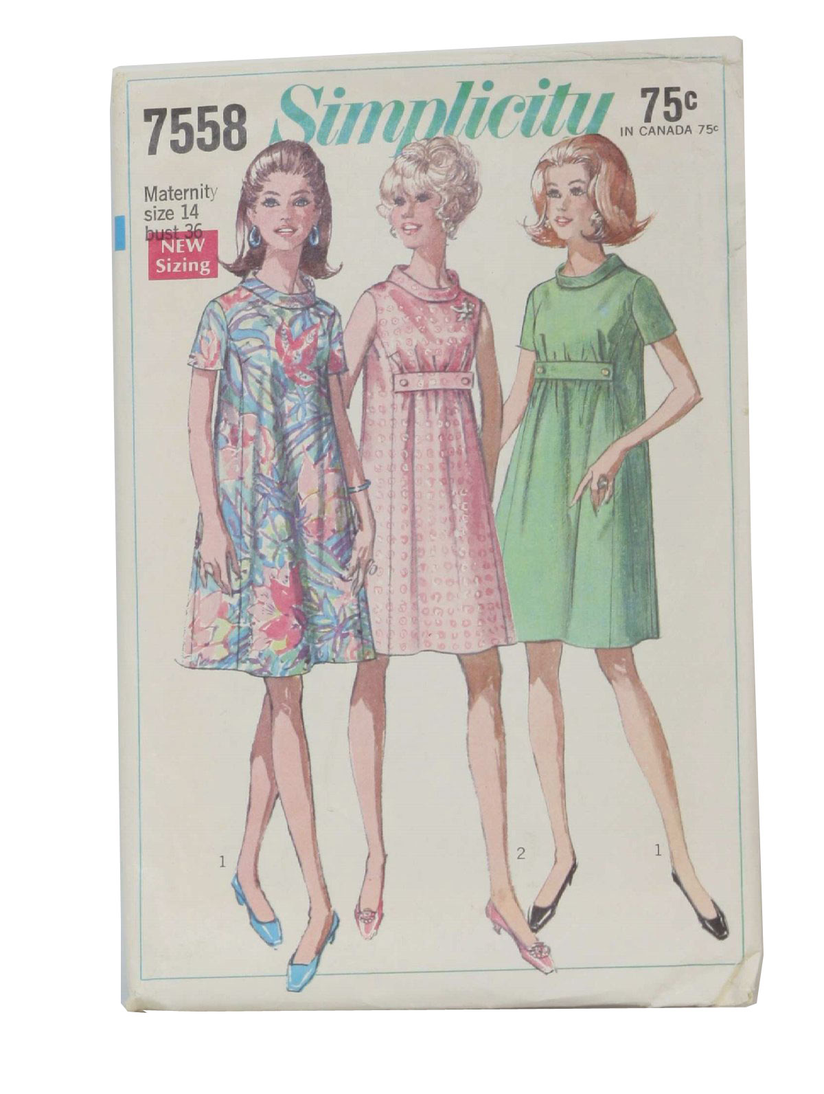 1960s retro sewing pattern 1968 simplicity pattern no 7558 1960s retro sewing pattern 1968 simplicity pattern no 7558 maternity dress in misses sizes the dress with let out sides seams has princess seaming ombrellifo Images