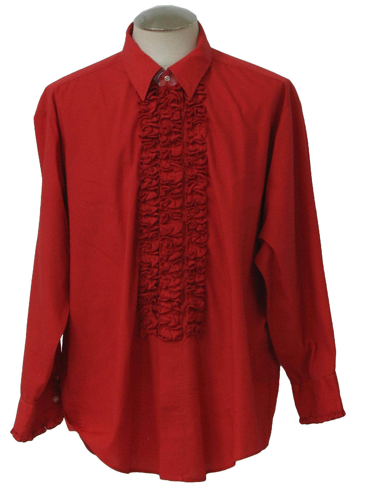 1970s vintage shirt 70s lion of troy mens red polyester for Red ruffled tuxedo shirt