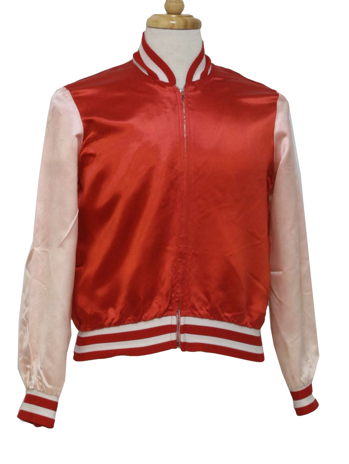 1960's Retro Jacket: 60s -No Label- Mens red, white rayon acetate ...