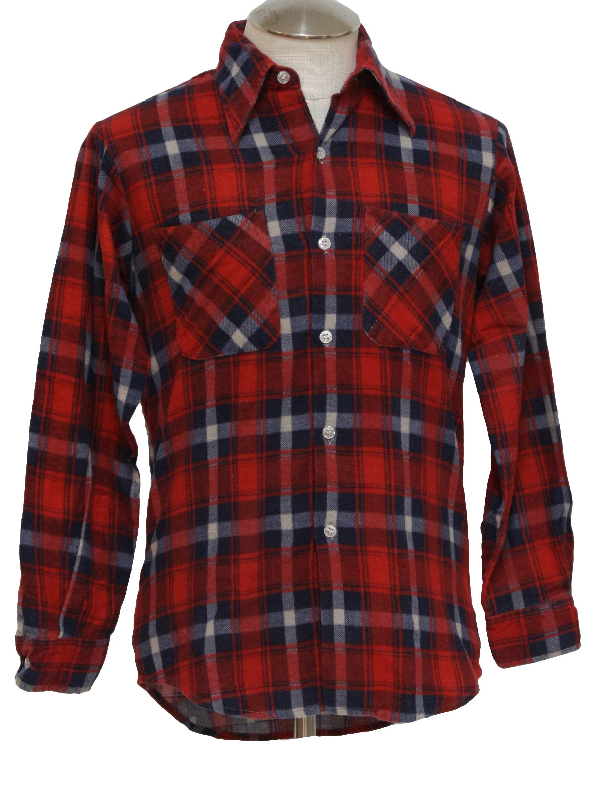 Vintage woodland nineties shirt 90s woodland mens navy for Cotton polyester flannel shirts