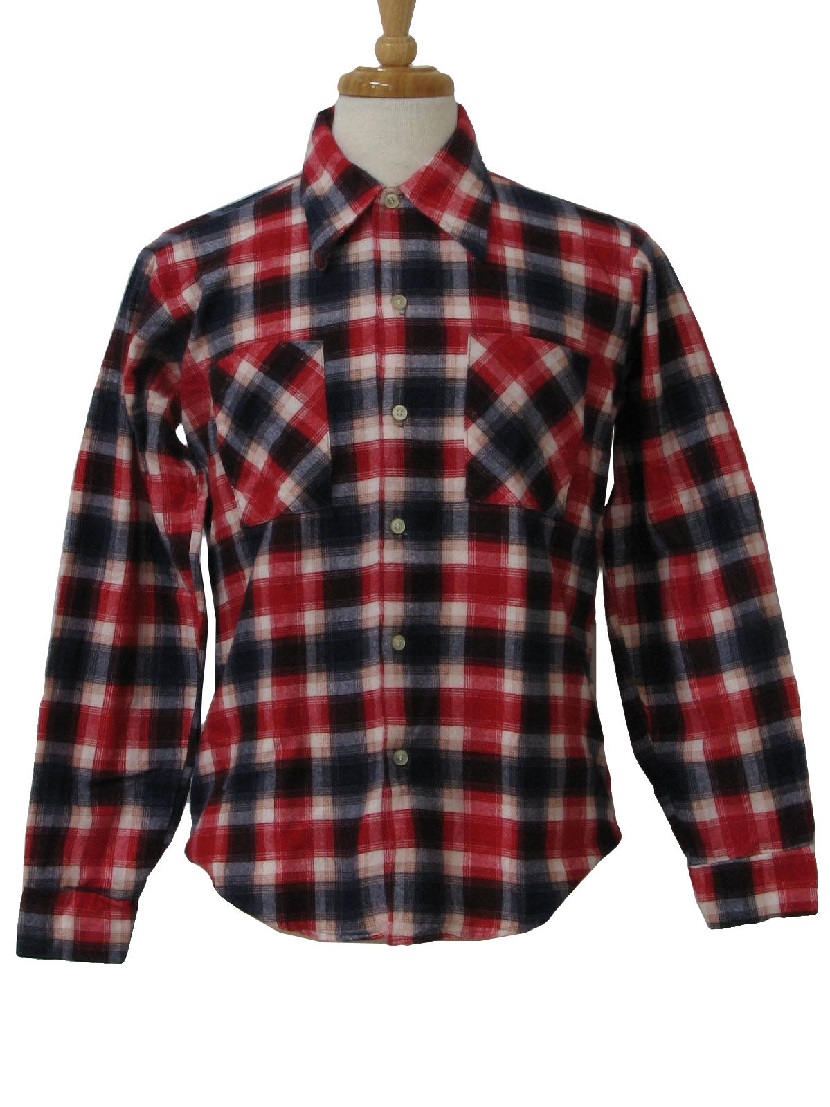 Vintage prest 90 39 s shirt 90s prest rite mens white for Navy blue and red flannel shirt