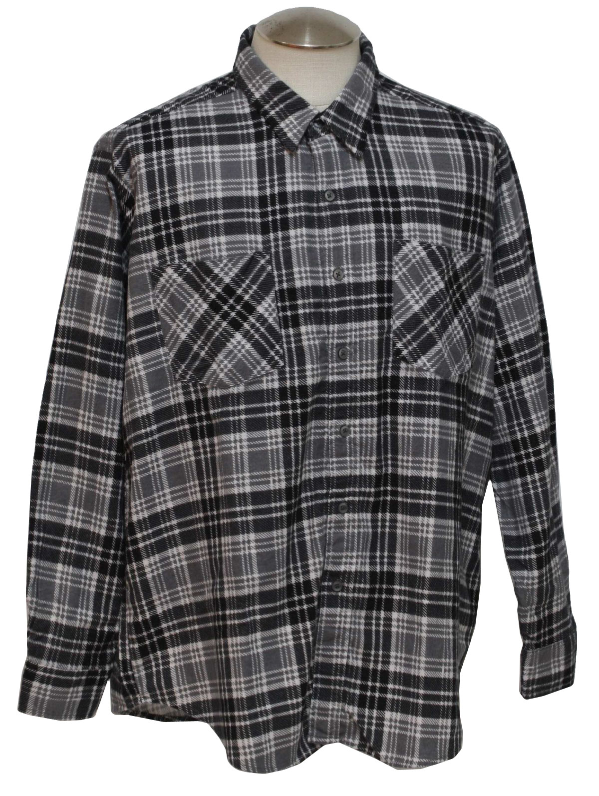 Retro 90s shirt haband 90s haband mens white black for Cotton polyester flannel shirts