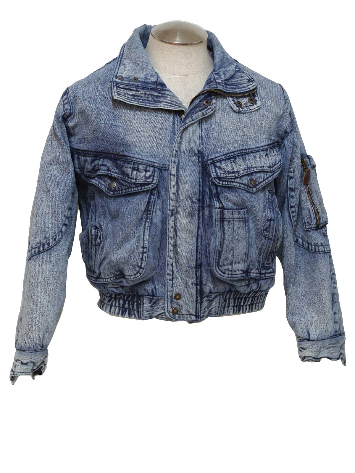 Retro 80 S Jacket 80s Todays News Mens Acid Washed Blue