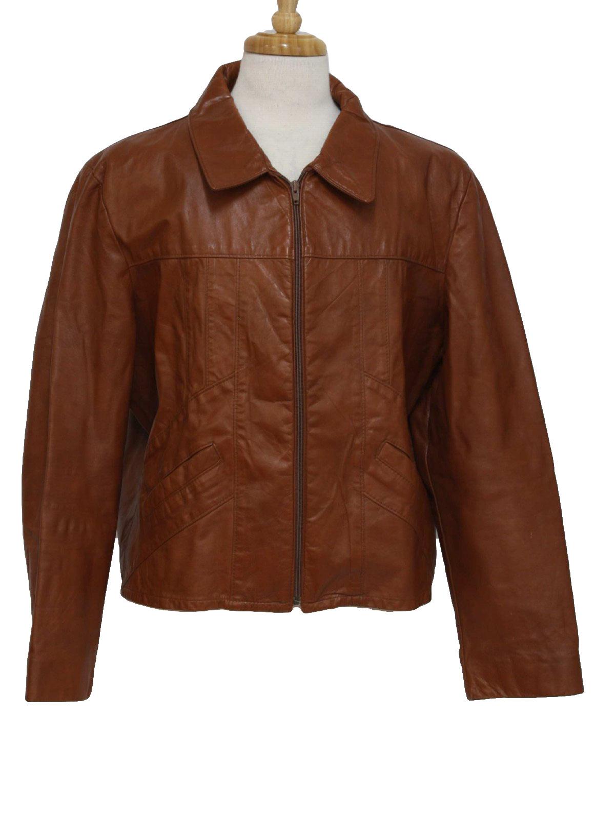 Vintage 1970's Leather Jacket: 70s -Care Label- Mens brick brown zip