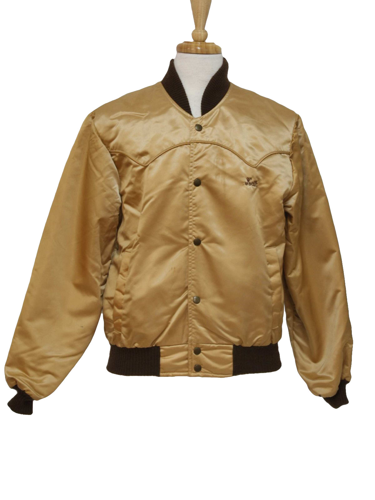 1970's Jacket (Tempco): 70s -Tempco- Mens gold and brown nylon ...