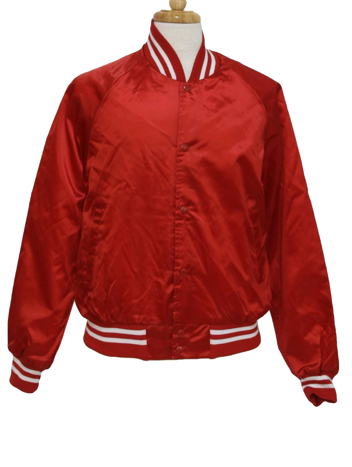 1980's Retro Jacket: 80s -Auburn- Mens red and white nylon satin ...