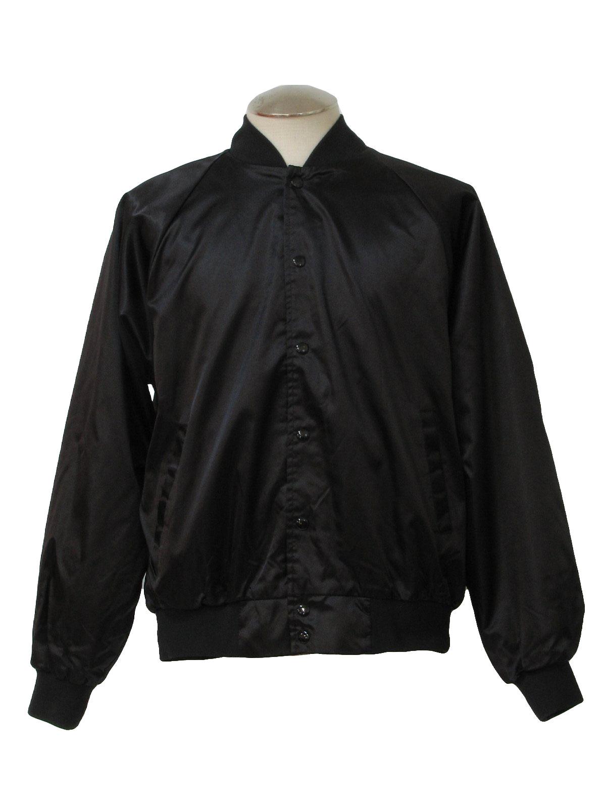 Retro Eighties Jacket: 80s -Augusta- Mens black-plum nylon satin