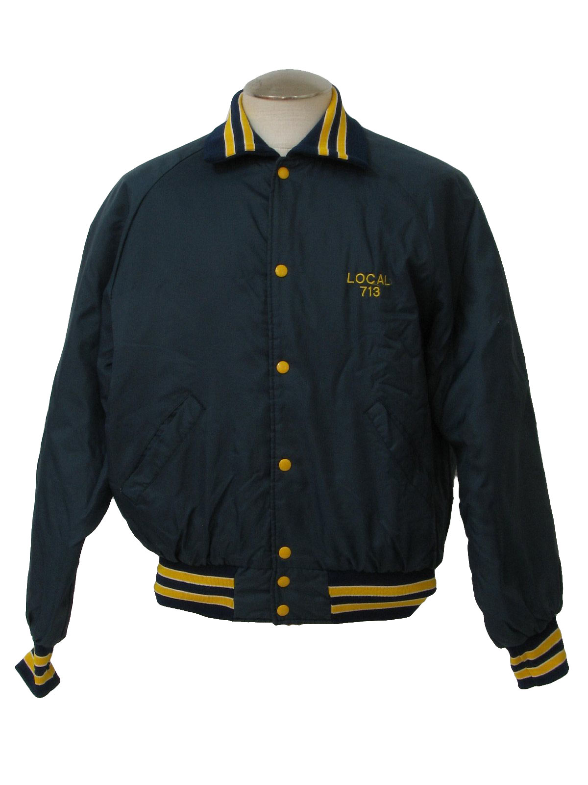 80's Vintage Jacket: 80s -Holloway- Mens midnight blue, gold and ...