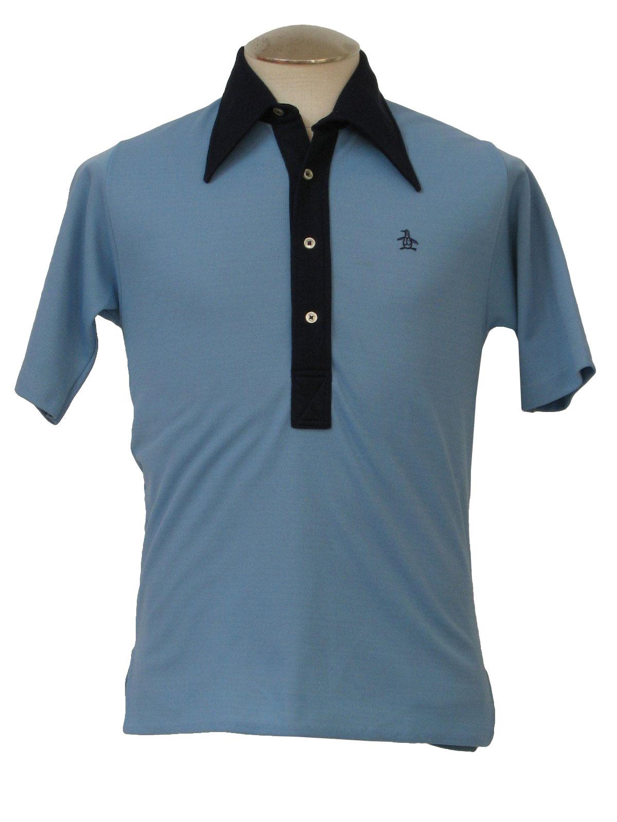 Vintage 70s shirt 70s grand slam mens sky blue and navy for Golf shirt with penguin logo