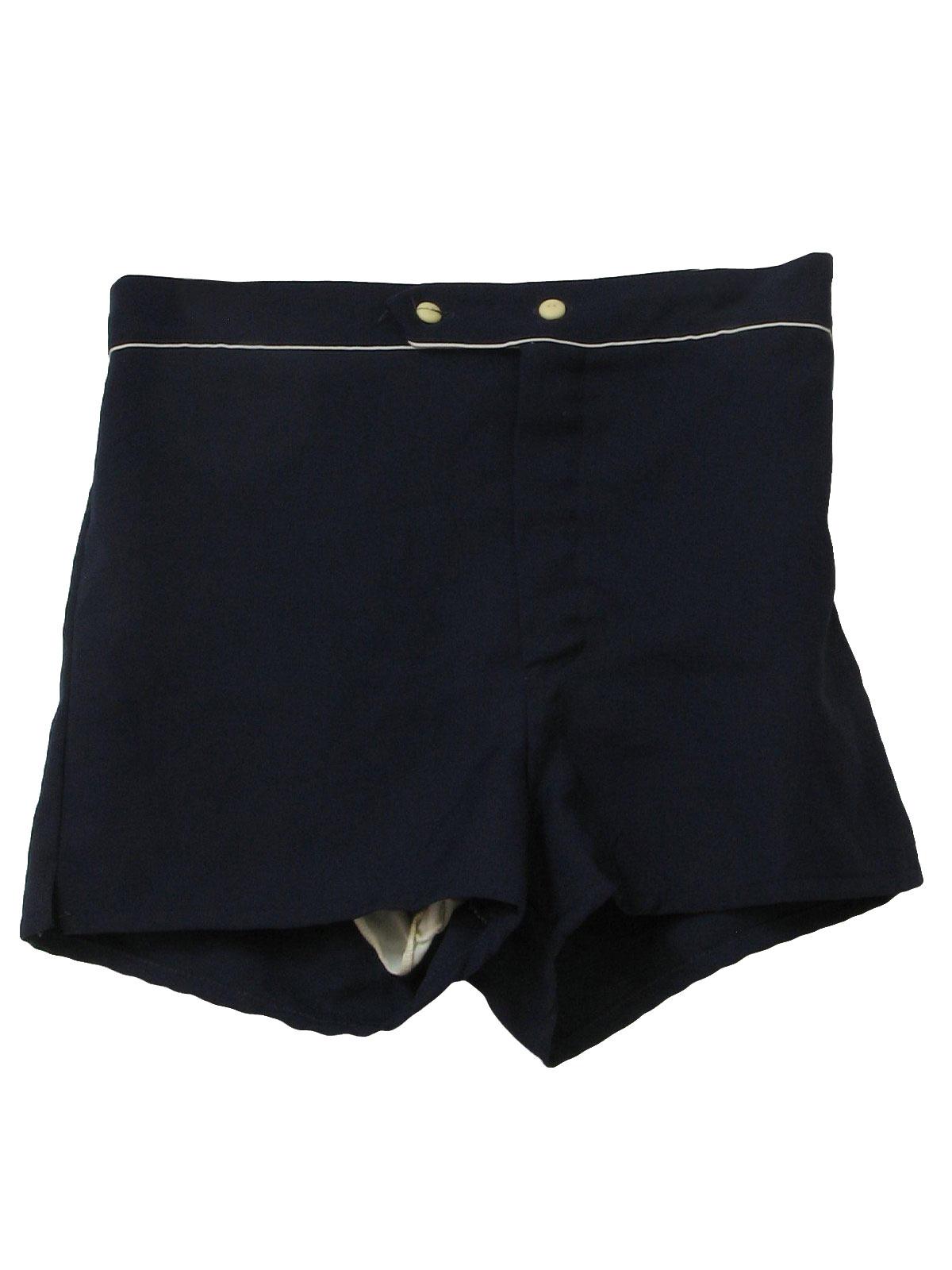 fcd57476d0 1970s Vintage Swimsuit/Swimwear: Early 70s -JCPenney- Mens dark blue ...