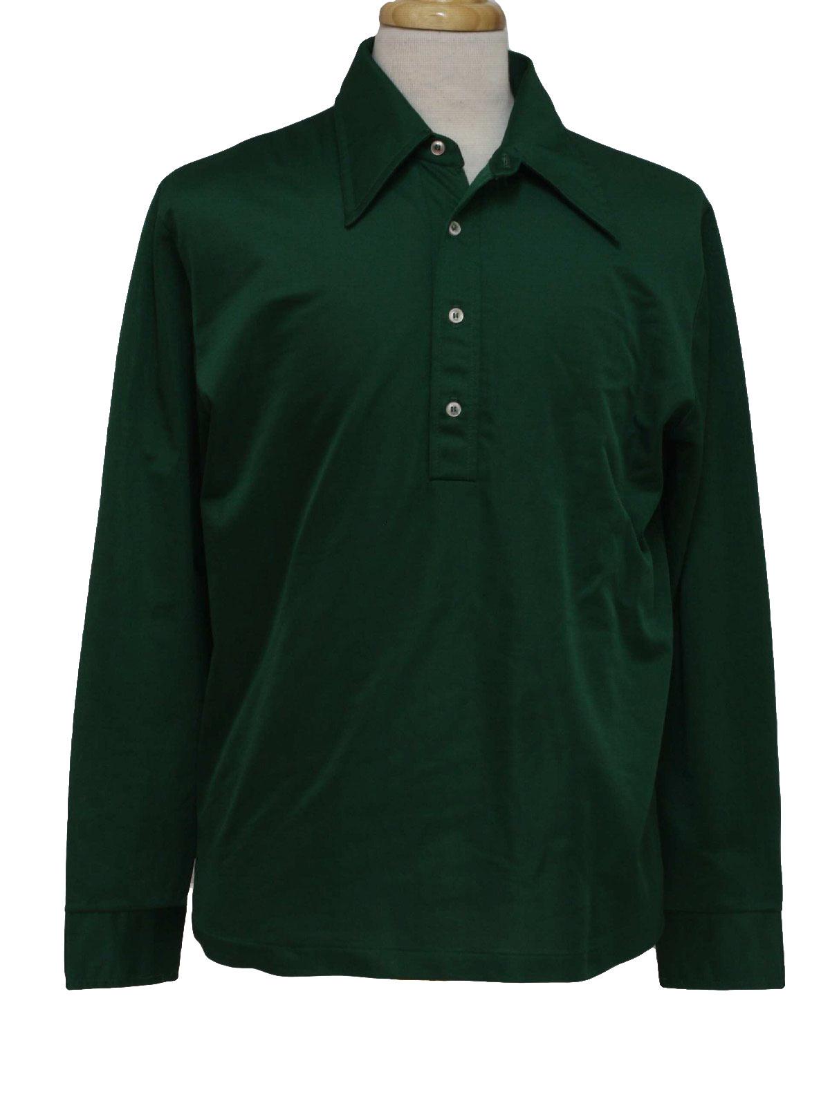 1970s Edgeworth Shirt 70s Edgeworth Mens Emerald Green Slinky