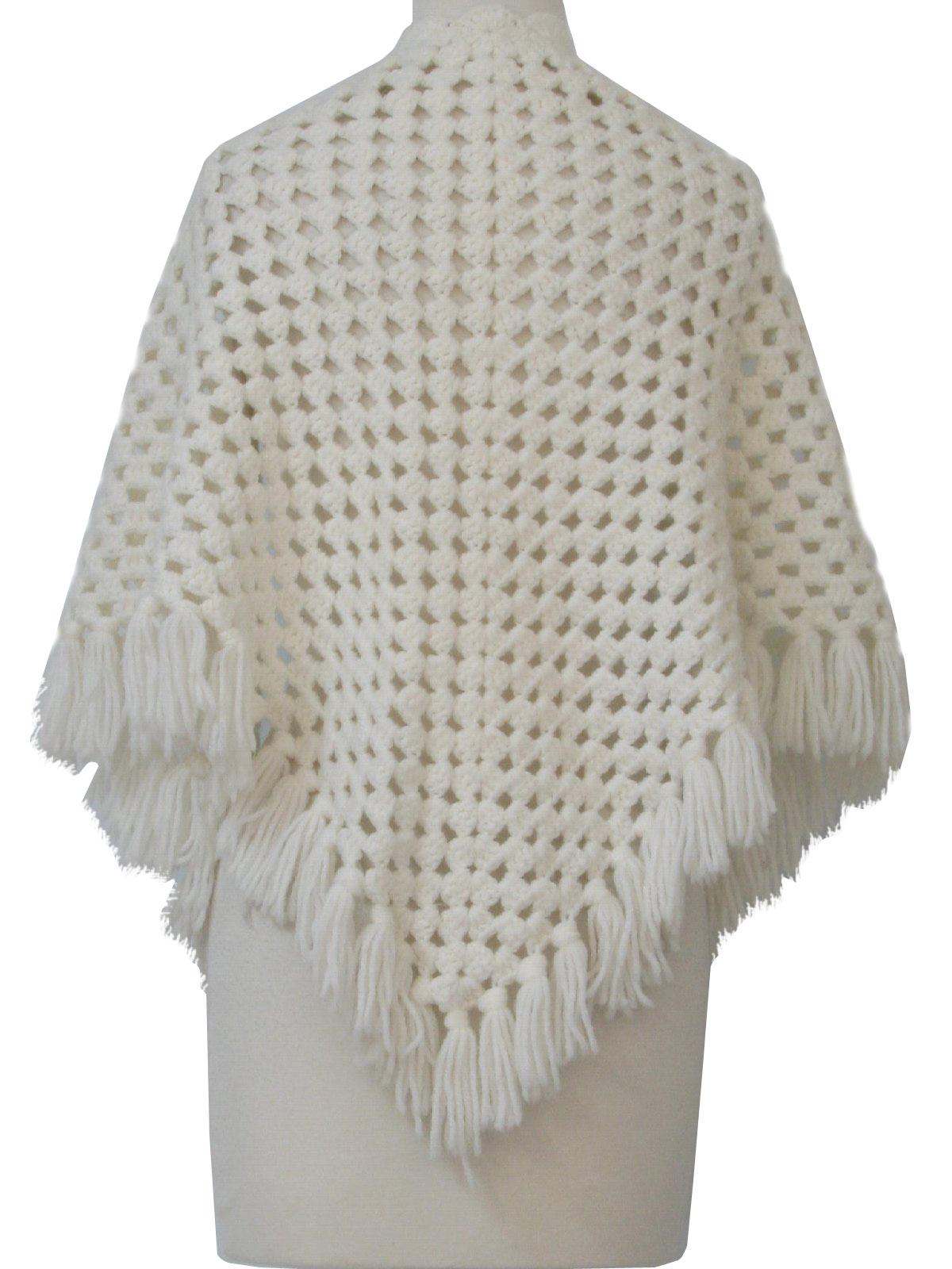70s Sweater: 70s -no label- Womens winter white acrylic ...