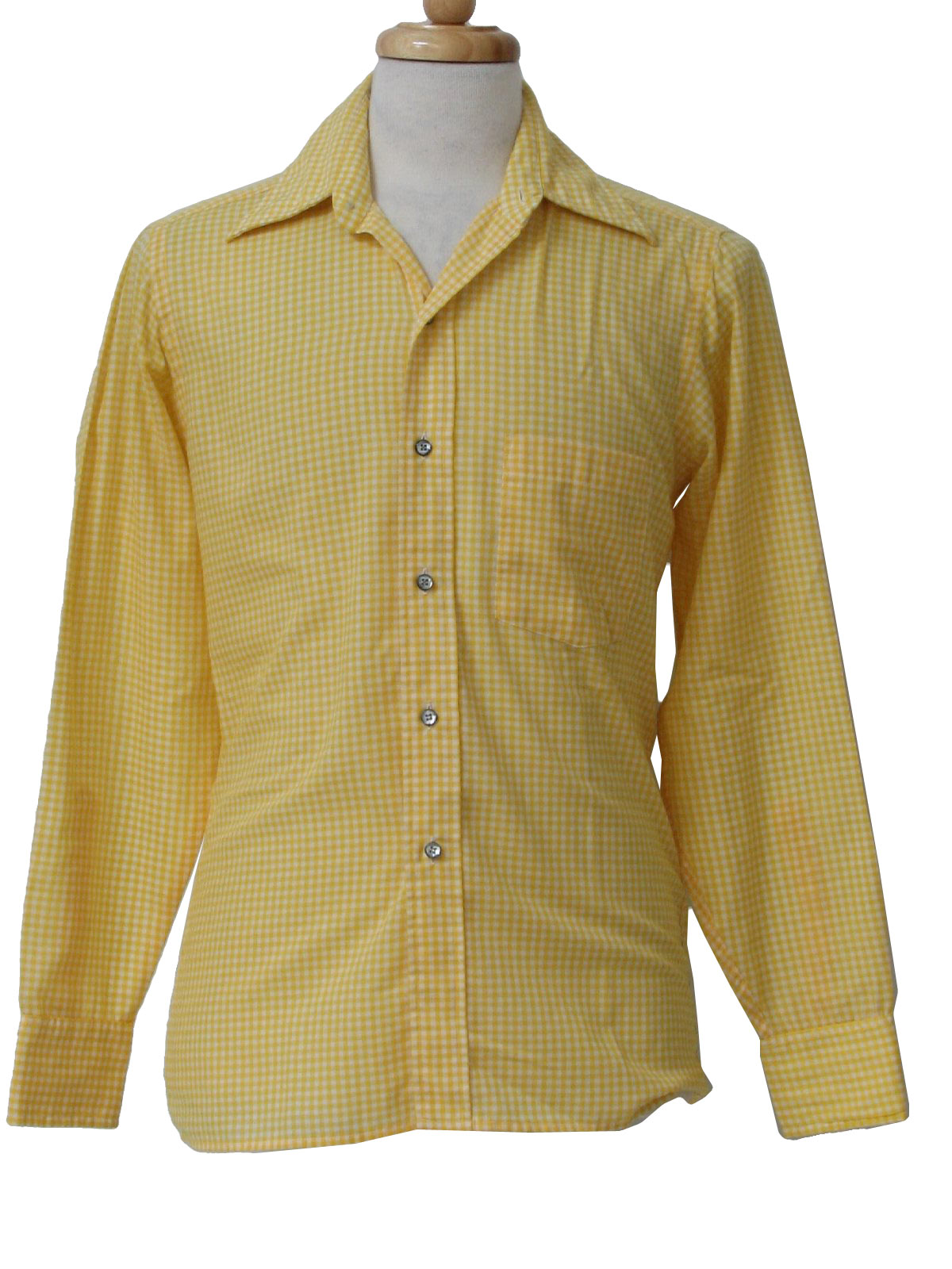 80s vintage courage shirt early 80s courage boys yellow for Mens yellow gingham shirt
