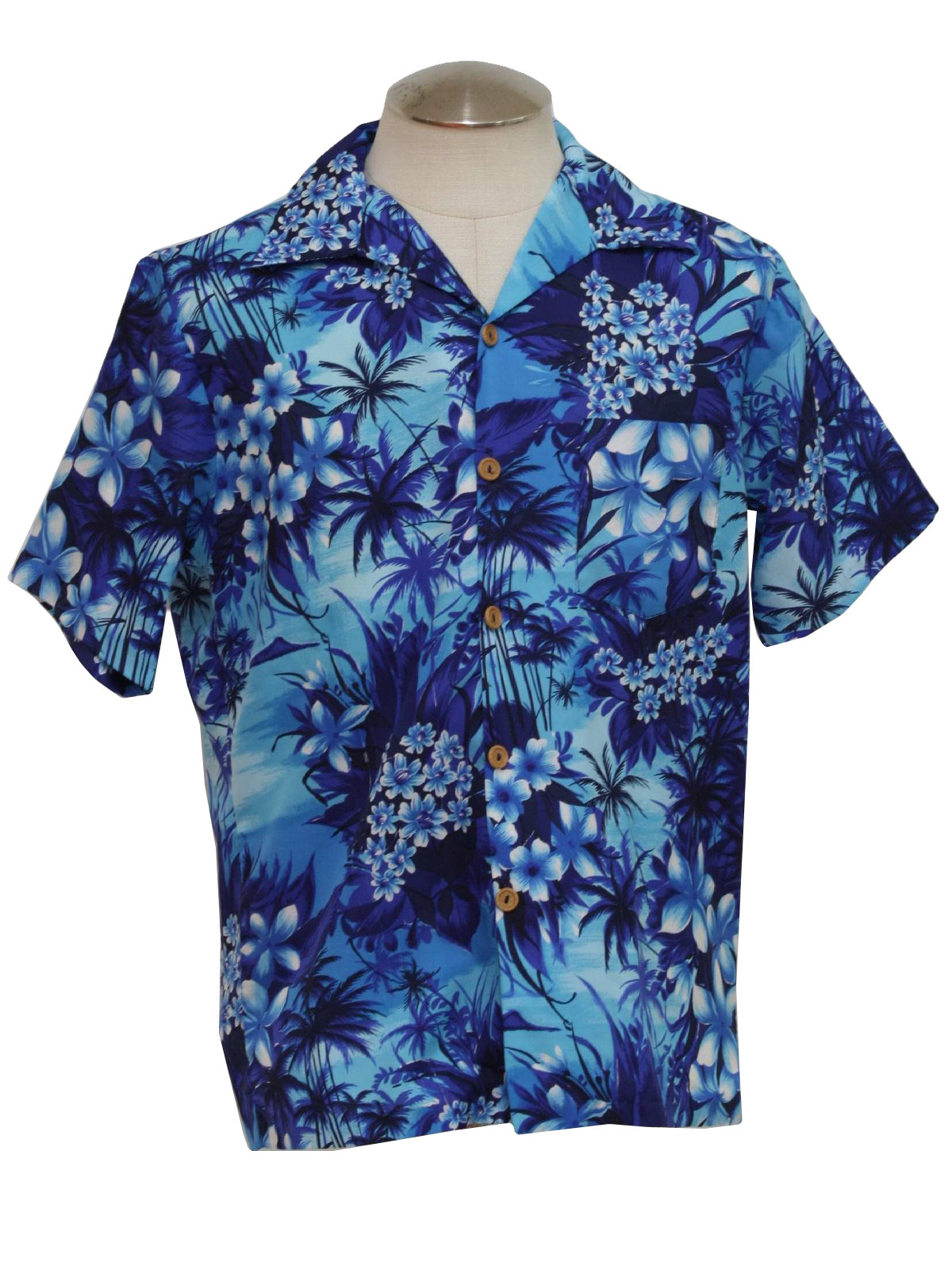70\'s Vintage Hawaiian Shirt: 70s -Care Label Only- Mens navy blue ...