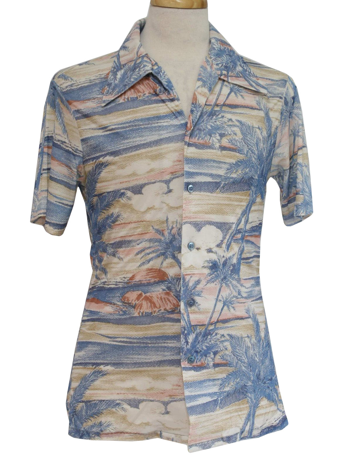 Vintage 1970 39 s print disco shirt 70s kmart mens off for Kmart button up shirts