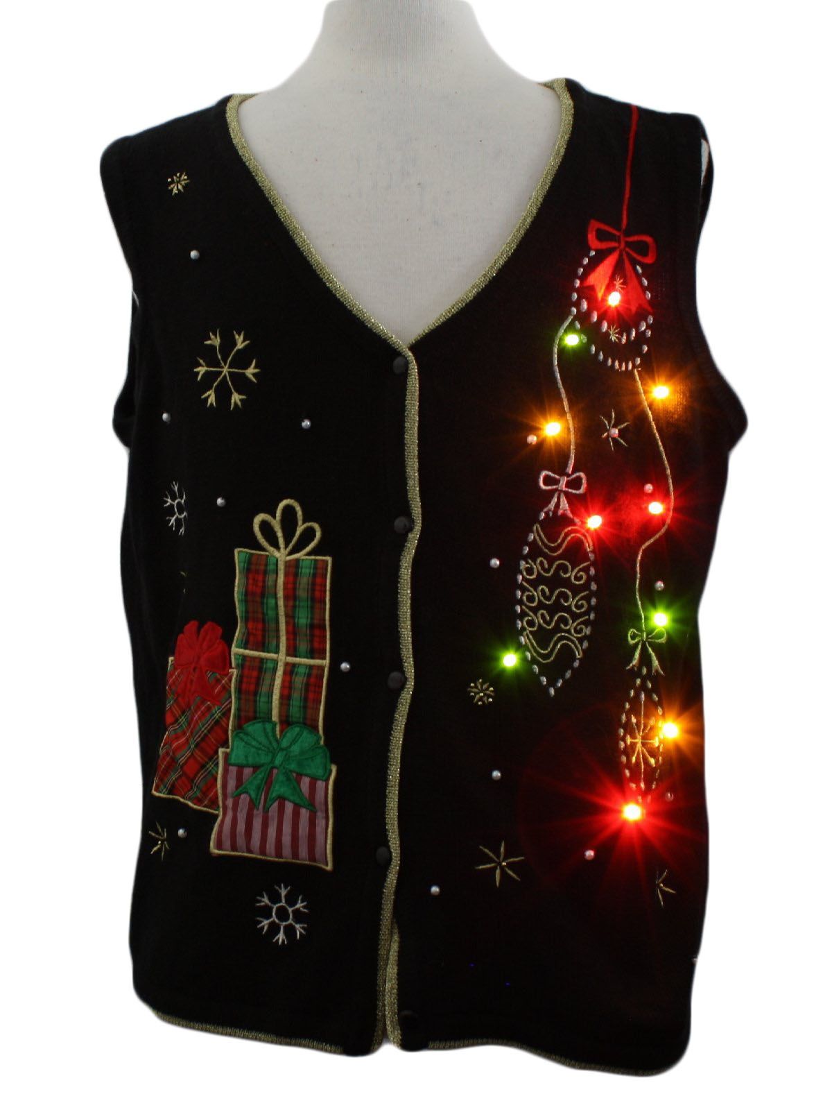 Lightup Ugly Christmas Sweater Vest: -Pinecone symbol- Unisex ...