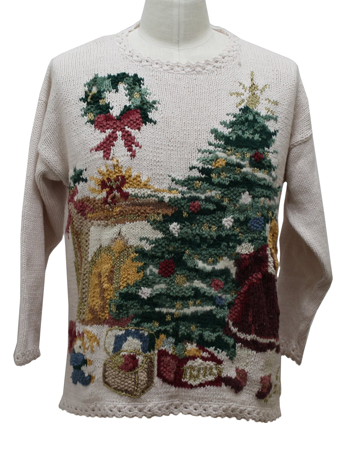 Ugly Christmas Sweater Stefano Basics Unisex Pink Toned Off White Wine Pink And Shades Of