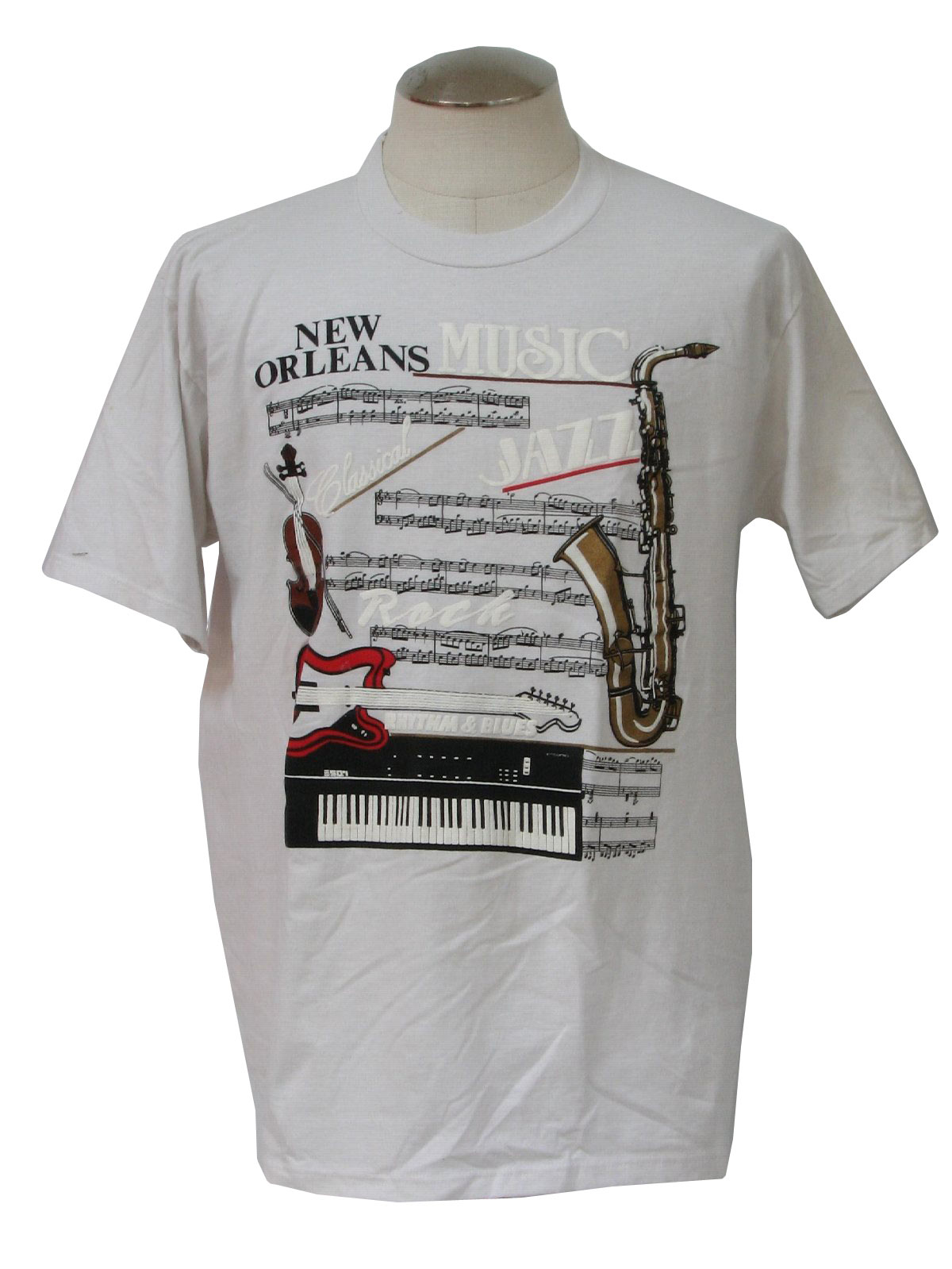 Vintage 1980 39 s t shirt 80s jerzees mens white red for T shirt printing new orleans