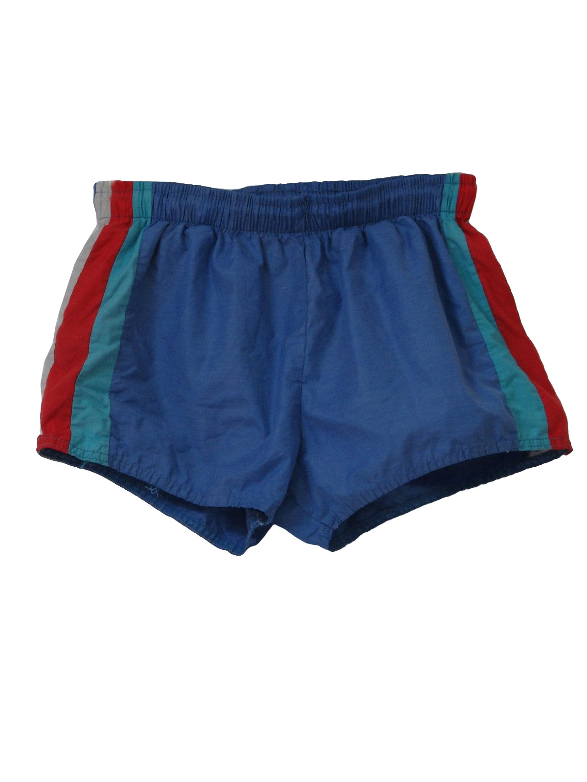Retro 1980s Shorts 80s Care Label Mens Blue Teal Green