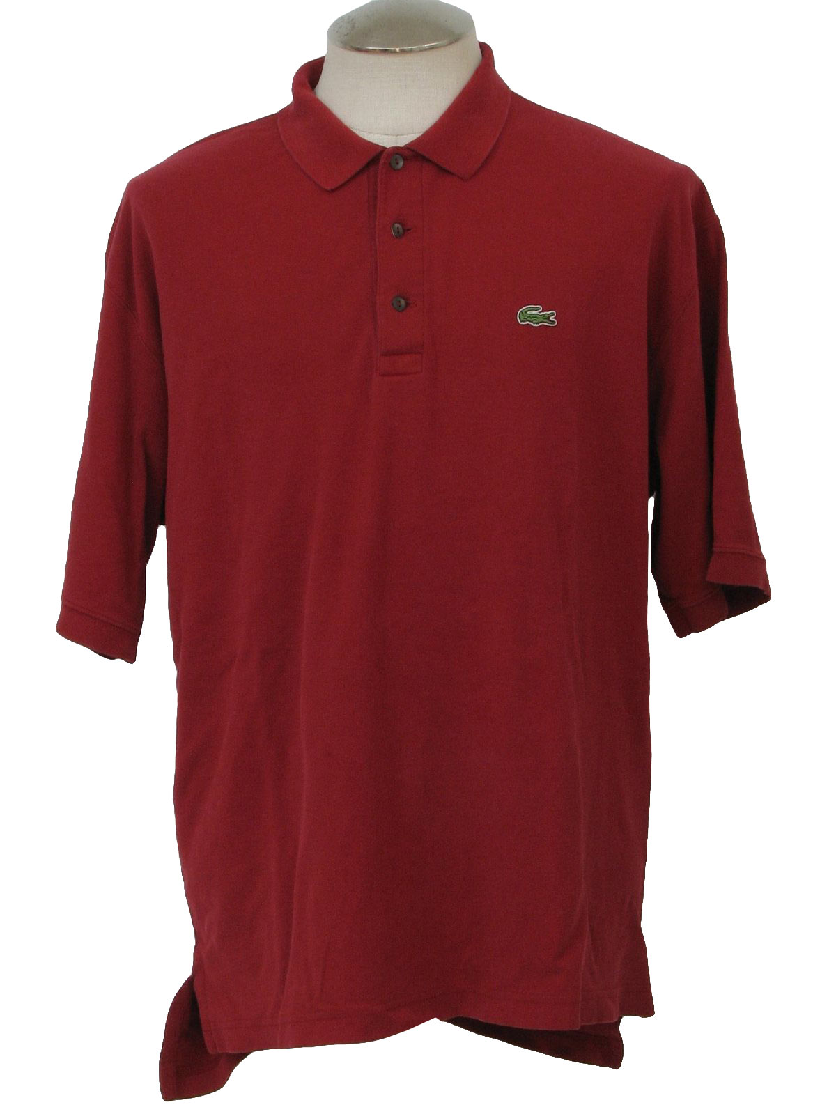 Retro 1990s shirt 80s lacoste mens dark red cotton for Lacoste shirts with big alligator