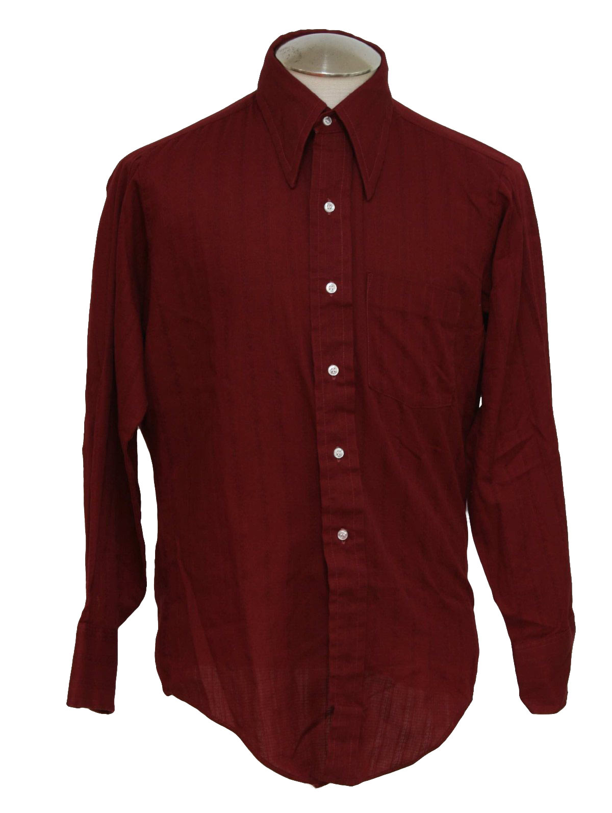 1970's Retro Shirt: 70s -Arrow- Mens plain maroon with weaved in ...