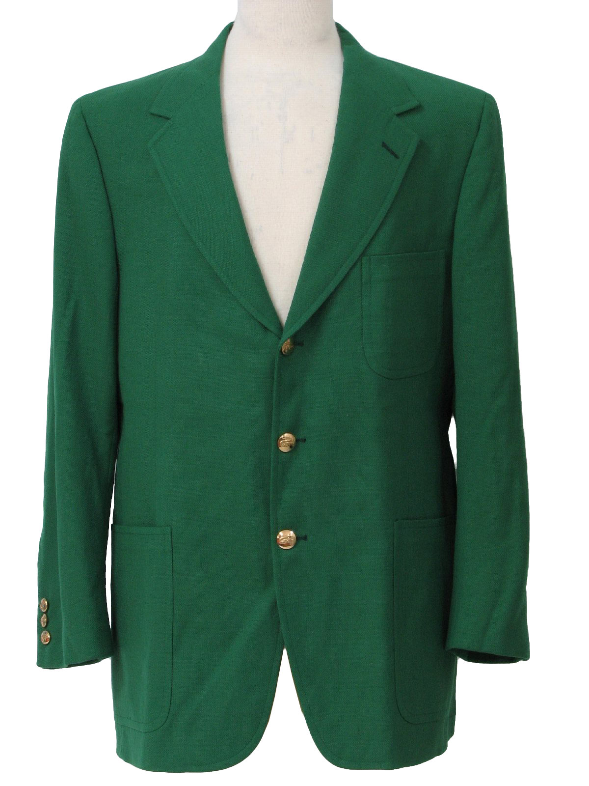 1970's Retro Jacket: 70s -Izod- Mens kelly green hopsack weave ...