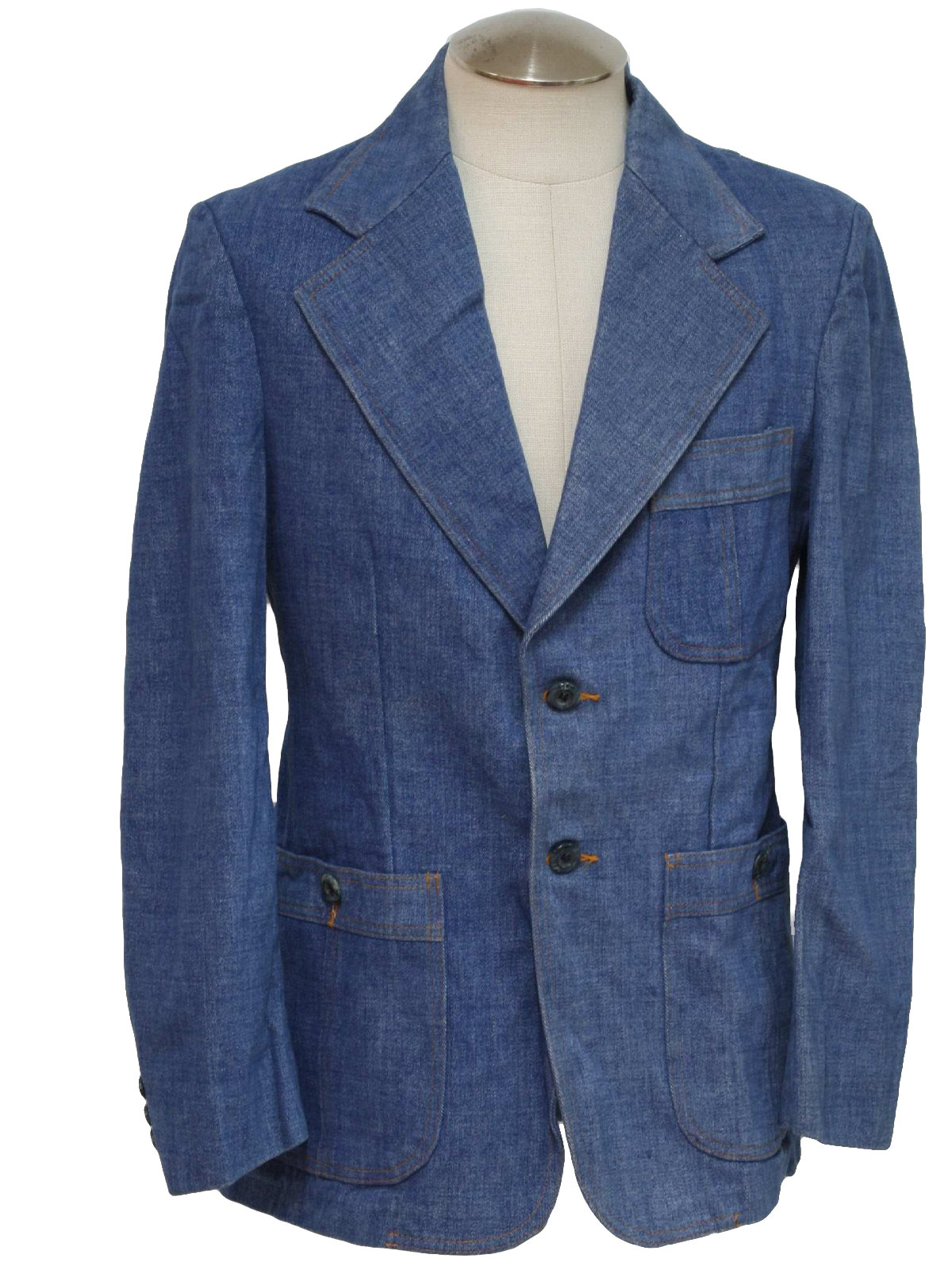 1970s Edwin Scott Jacket: 70s -Edwin Scott- Mens blue brushed ...
